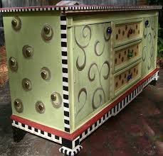 whimsical painted furnitureHand Painted Funky Whimsical Dresser with Large Studded Sides and
