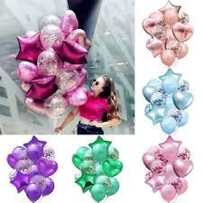 Details About 14pcs Set Wedding Birthday Balloons Latex Foil Ballons Kids Boy Girl Party Decor