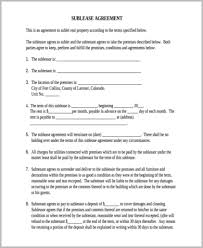 Apartment Sublease Template Sample Sublease Contract Form 8 Examples In Word Pdf