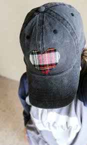diy flannel heart no sew baseball hat the child at heart blog