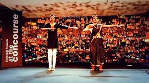 beautiful indian women dancing yoga dance