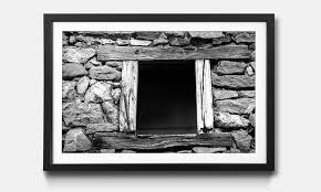 the framed wall art window with old wooden