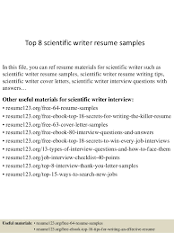 sample resume writing top 8 scientific writer resume samples