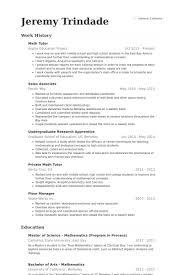 Math Tutor Resume 8 9 Techtrontechnologies Com