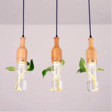 modern led plant pendant lamp wood