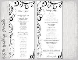Wedding Program Scroll Black White Wedding Program Template Instant Download