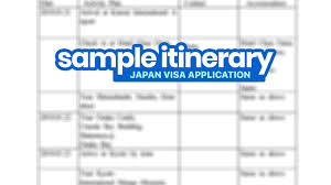 Another Word For Itinerary Is Sample Itinerary For Japan Visa Application Schedule Of
