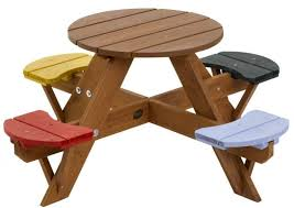 appealing small kids wooden round picnic table design with seating for 4 kids