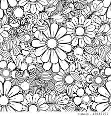 植物 花 イラスト モノクロ 花柄 背景の写真素材 Pixta