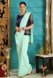 Full Length Blouse Designs Turquoise Blue Georgette Saree Full Length Blouse