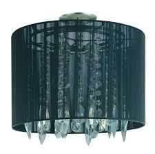 two light chrome black string shade drum shade semi flush mount