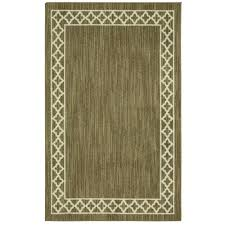 mohawk home modern basics moroccan border dark khaki cream 5 ft x 7 ft