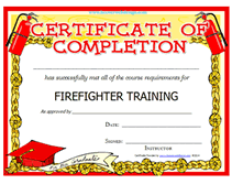 Free Printable Firefighter Training Award Certificate