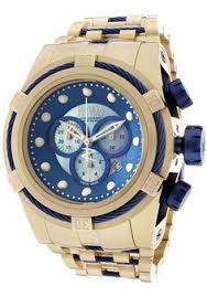 invicta 1558 men s ii collection blue accents white dial invicta men s bolt zeus chronograph gold tone steel white mop dial watch 12742