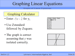 calculator graphs of linear equations lehmann interate algebra 3ed section 1 2 enter for y 1