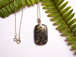 jasper pendant necklace in sterling silver bown jasper