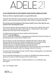 Adele's Tour Rider: Mandatory Charity and Absolutely No North ...