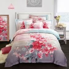 2018 red flowers grey bedding sets winter thick bed cover sanding cotton queen king size duvet cover set pillowcases comforter king blue duvet sets from