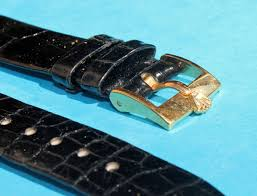 vintage rolex original black crocodile leather strap watch new 17mm x 14mm with gold filled buckle
