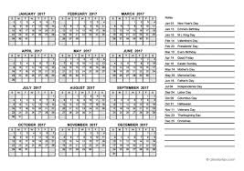 2017 Yearly Calendar PDF - Free Printable Templates