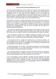 How To Writeesume Uk Example Of Personal Statement For Writing Cv