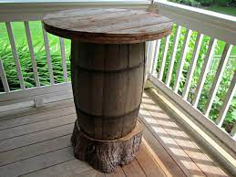 diy bar table made from a wine barrel