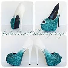 glitter high heels teal blue white ombre peep toe pumps blue Wedding Shoes Glitter Heel glitter high heels teal blue white ombre peep toe pumps blue wedding shoes wedding shoes sparkly heel