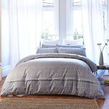 bianca cotton soft brushed cotton duvet cover and pillowcase set grey double