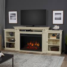 entertainment center electric fireplace in distressed white