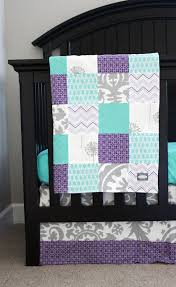 custom baby bedding aqua purple and