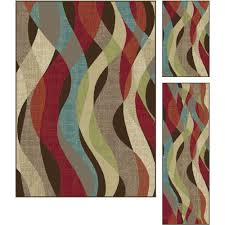 3-Piece Set Brown, Red & Teal Blue Area Rug - Deco | RC Willey Furniture  Store
