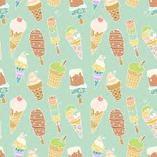 seamless pattern with cartoon cute ice creams hand drawn colored vector with blue
