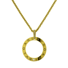 bvlgari bvlgari bvlgari yellow gold round open diamond necklace
