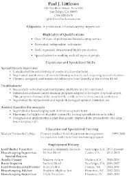 Executive Housekeeper Resume Interesting Resume For Housekeeping Job Sample Housekeeping Resume Housekeeping