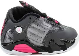 jordan shoes retro 14. air jordan retro 14 infant toddler lifestyle shoe (metallic dark grey/ hyper pink/wolf grey) shoes e
