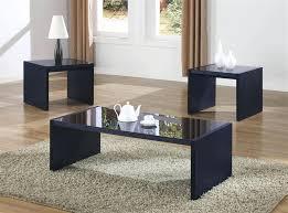3 piece coffee table set black woodrow in brown