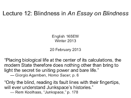 lecture blindness in an essay on blindness lecture 12 blindness in an essay on blindness english 165ew winter 2013 20 2013