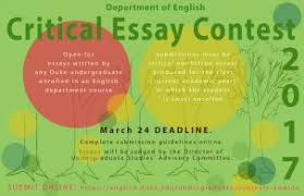 contests awards duke english department the critical essay competition is open for essays written by any duke undergraduate enrolled in an english department course submissions must be critical