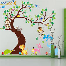 jungle theme wall decals baby nursery decor animated wall sticker tree wall sticker cartoon decal  on jungle wall art for baby room with wall decal fantastic jungle theme wall decals for kids room