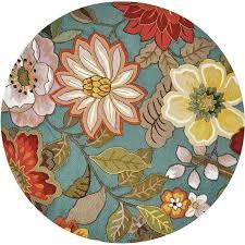 nourison fantasy rug fl aqua hand hooked round x
