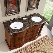55 inch double sink bathroom vanity:  inch double sink vanity with baltic brown top and undermount white ceramic sinks