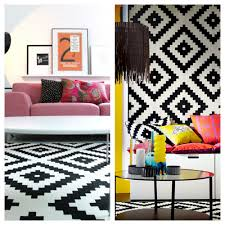 black and white geometric rug ikea