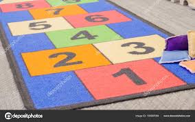 Hopscotch Pattern Extraordinary Carpet Hopscotch Pattern Kids Game Stock Photo © Urbanlight