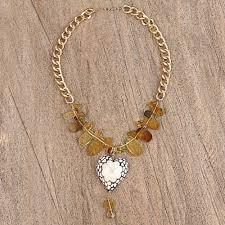 blue white flower wood heart pendant amber bead necklace lovely clover