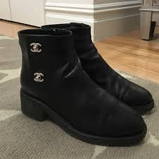 CHANEL Shoes - Chanel Turn Lock Silver Ankle Boot  Poshmark
