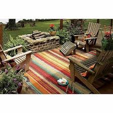 colorful striped indoor outdoor area rug stain fade resistant durable