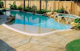 fiberglass pools with beach entry.  Fiberglass Zero Beach Entry Pool With Spa And Rock Waterfall  Inside Fiberglass Pools With Beach Entry U