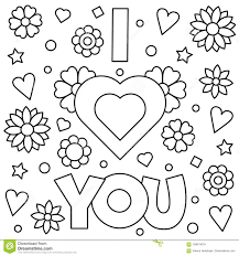 I Love You Coloring Page Vector Illustration Stock Vector