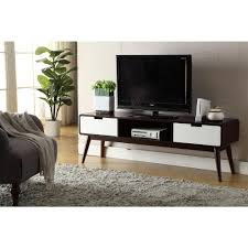 Walnut Living Room Furniture Acme Furniture Christa Walnut And White Storage Entertainment