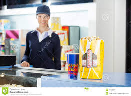 concession worker clipart clipart kid concession stand at cinema female worker standing in background